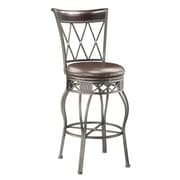 PRI Arched Cross Back Powder Coated Metal, Birchwood, Bonded Leather Barstool