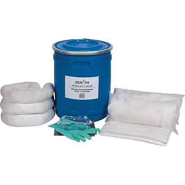 Zenith Safety 10-Gallon Truck Spill Kits, Oil Only, With Blue Drum