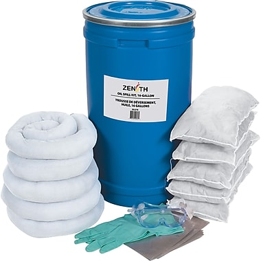 Zenith Safety 16-Gallon Spill Kits, Oil Only, With Polyethylene Pail