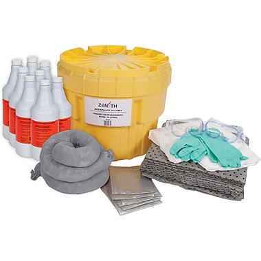 Zenith Safety 20-Gallon Acid Spill Kits, With Polyethylene Container