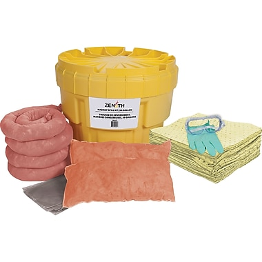 Zenith Safety 20-Gallon Spill Kits, Hazmat, With Polyethylene Container