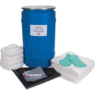 Zenith Safety 30-Gallon Shop Spill Kits, Oil Only, With Polyethylene Drum