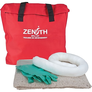 Zenith Safety 10-Gallon Eco-Friendly Spill Kits, Oil Only, With Nylon Bag, 2/Pack