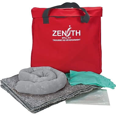 Zenith Safety 10-Gallon Eco-Friendly Spill Kits, Universal, With Nylon Bag, 2/Pack