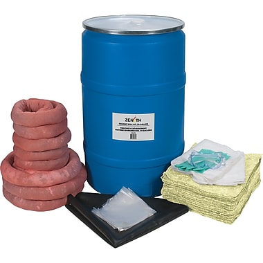 Zenith Safety 55-Gallon Eco-Friendly Spill Kits, Hazmat, With Polyethylene Drum