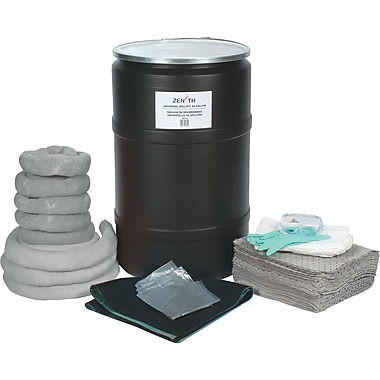 Zenith Safety 55-Gallon Spill Kits, Universal, With Polyethylene Drum