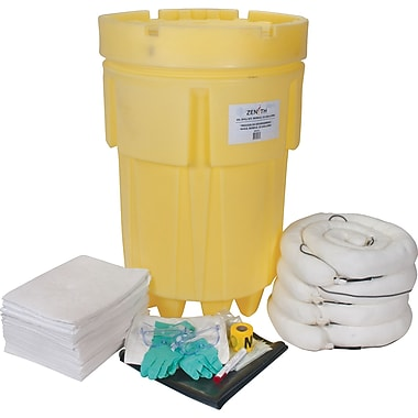 Zenith Safety 95-Gallon Economy Spill Kits, Oil Only, With Mobile Overpack Drum