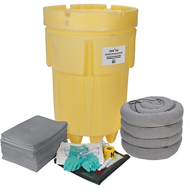 Zenith Safety 95-Gallon Economy Spill Kits, Universal, With Mobile Overpack Drum