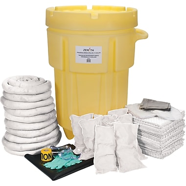 Zenith Safety 95-Gallon Shop Spill Kits, Oil Only, With Mobile Overpack Drum