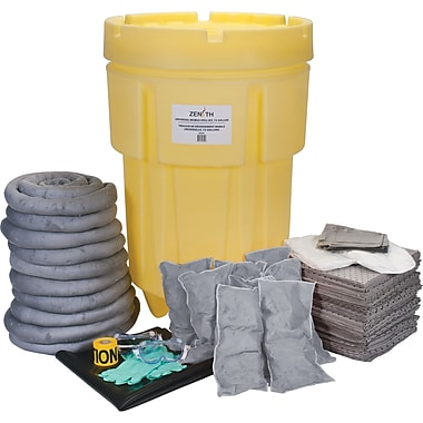 Zenith Safety 95-Gallon Shop Spill Kits, Universal, With Overpack Drum