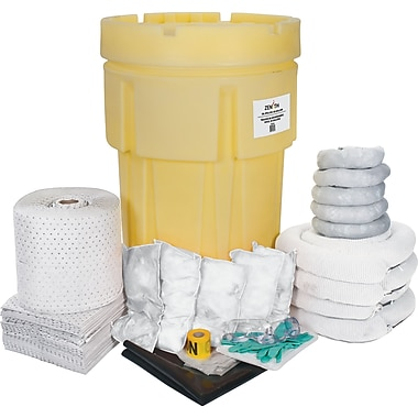 Zenith Safety 95-Gallon Spill Kits, Oil Only, With Mobile Overpack Drum
