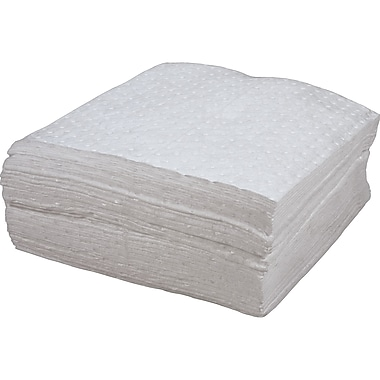 Zenith Safety Bonded Sorbent Pads, Oil Only, Heavy, 15