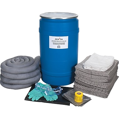 Zenith Safety 30-Gallon Spill Kits, Universal, With Polyethylene Drum