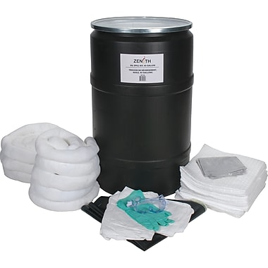 Zenith Safety 55-Gallon Spill Kits, Oil Only, With Polyethylene Drum
