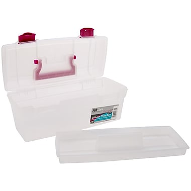 ArtBin 6938AB Clear/Raspberry Essentials Lift-Out Tray With Handle, 13