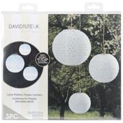 "Darice  David Tutera 3-Piece Lace Look Paper Lanterns 6"", 8"" And 10"""