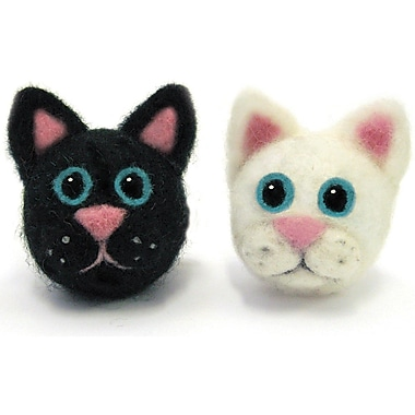 Dimensions Wool Roving Felting Foam Round & Wooly Cats Needle Felting Kit