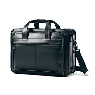 Samsonite Black Leather Expandable Briefcase (43118-1041)