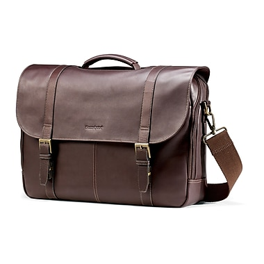 Samsonite Brown Leather Flapover Laptop Briefcase 15.6