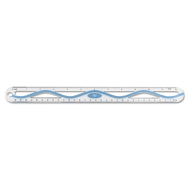 Westcott® Standard/Metric Plastic Wave Ruler, 12