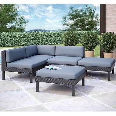Corliving Oakland 5 Piece Sectional With Chaise Lounge Patio Set
