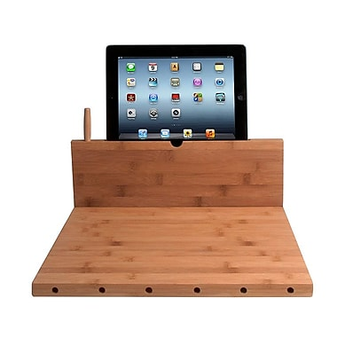 CTA Digital Bamboo Cutting Board with Stand and Knife Storage for iPad