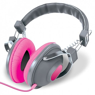 DreamGEAR HM-260 Stereo Headphones with Microphone, Grey/Pink