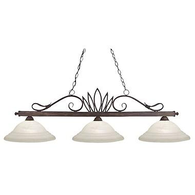 Z-Lite Crown (119-3-BI-SW16) - Luminaire de billard à trois lumières, 55 po x 16 po x 16 po, bronze intempérique