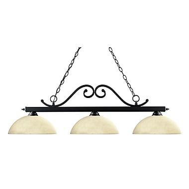 Z-Lite Windsor (149MB-DGM14)  Luminaire de billard à trois lumières, 46 po x 14 po x 13,5 po, noir mat