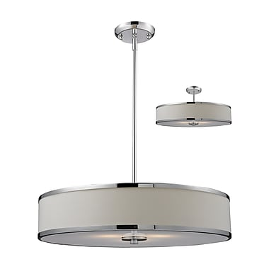 Z-Lite Cameo (164-24) - Suspension convertible à trois lumières, 23,63 po x 53,5 po, chrome