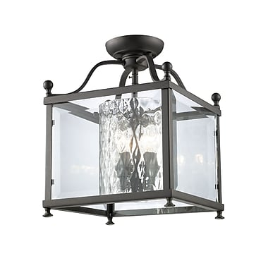 Z-Lite Fairview (177-3SF-M) - Lampe semi-encastrée à trois lumières, 11 po x 14 po, bronze