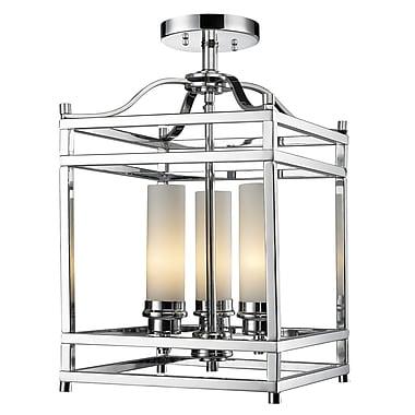 Z-Lite Altadore (180SF) - Lampe semi-encastrée à trois lumières, 10,63 po x 10,63 po x 17,13 po, chrome