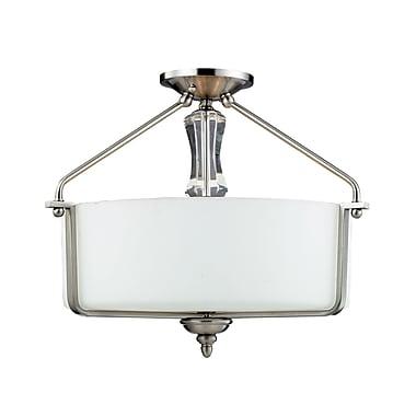 Z-Lite Avignon (2000SF) - Lampe semi-encastrée à trois lumières, 18,75 po x 14,75 po, nickel brossé