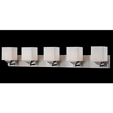 Z-Lite Quube (2104-5V) - Luminaire pour salle de bains à cinq lumières, 6 po x 38,5 po x 6,75 po