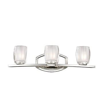 Z-Lite Haan (3018-3V) - Luminaire pour salle de bains à trois lumières, 6,25 po x 21,25 po x 5,75 po, chrome