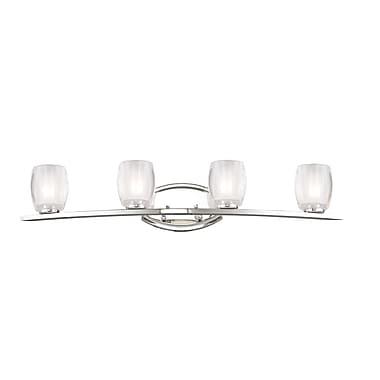 Z-Lite Haan (3018-4V) - Luminaire pour salle de bains à quatre lumières, 6,38 po x 31,38 po x 5,75 po, chrome
