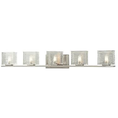 Z-Lite Jaol (3024-5V) - Luminaire pour salle de bains à cinq lumières, 3,75 po x 39,75 po x 5,63 po, nickel brossé