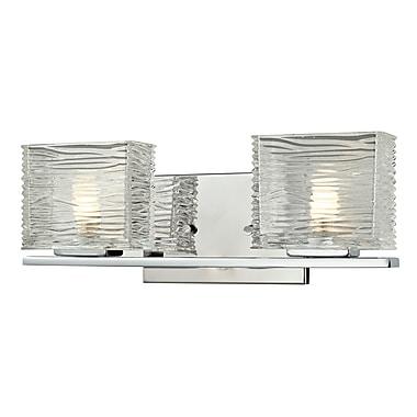 Z-Lite Jaol (3025-2V) - Luminaire pour salle de bains à deux lumières, 3,75 po x 15,25 po x 5,63 po, chrome