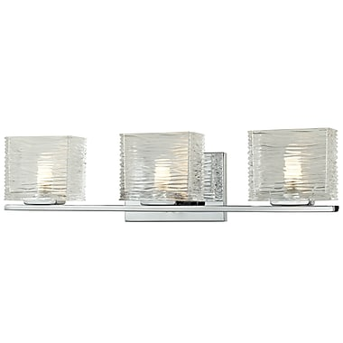 Z-Lite Jaol (3025-3V) - Luminaire pour salle de bains à trois lumières, 3,75 po x 22,5 po x 5,63 po, chrome