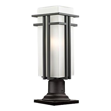 Z-Lite – Luminaire de pilier extérieur Abbey (550PHBR-533PM-ORBZ), 7,75 x 21,38 po, bronze huilé