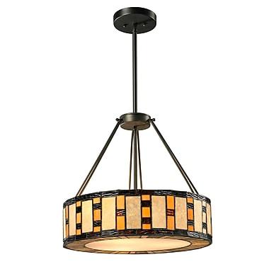 Z-Lite – Luminaire suspendu Raya à 3 lumières (Z14-51P-C), 14 x 14 x 53 po, bronze Java
