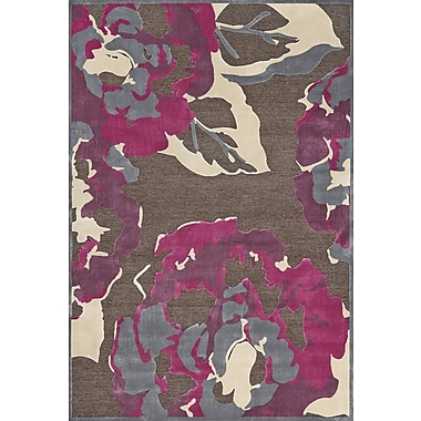 Feizy® Saphir Rubus Dark Gray/Raspberry Botanical Art Silk Pile Area Rugs