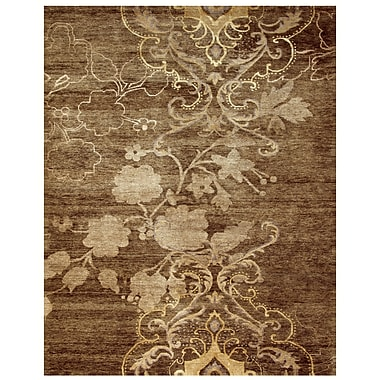 Feizy® Qing Damask Wool and Art Silk Pile Area Rug, Brown, 5' 6