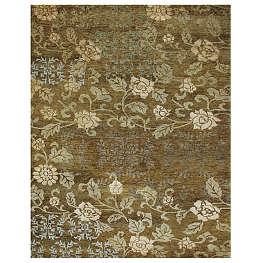 Feizy® Qing Wool and Art Silk Pile Area Rug, Ochre, 5' 6