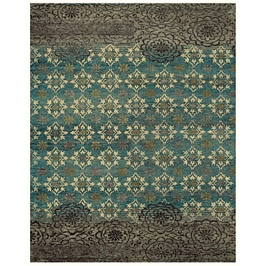 Feizy® Qing Wool and Art Silk Pile Area Rug, Silver Sage, 4' x 6'