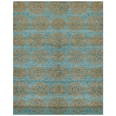Feizy® Qing Wool and Art Silk Pile Area Rug, Teal, 8' 6