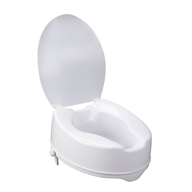 Drive Medical Raised Toilet Seat with Lock and Lid, Height 6