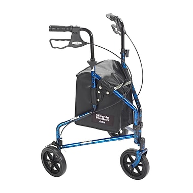 Drive Medical 3 Wheel Rollator Walker with Basket Tray and Pouch, Flame Blue