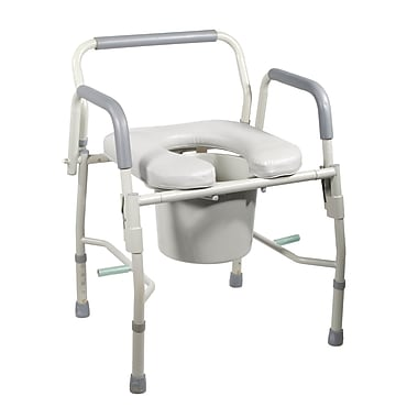Drive Medical Steel Drop Arm Bedside Commode with Padded Seat & Arms