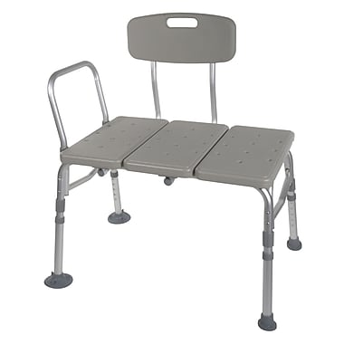 Drive Medical Plastic Transfer Bench with Adjustable Backrest, Non-Retail Packaging